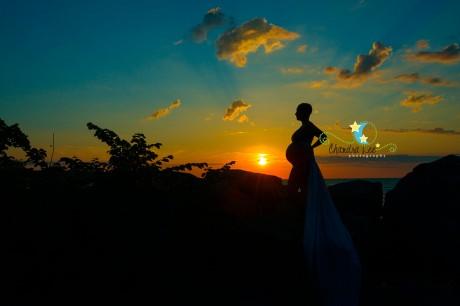 Silhouette Maternity Portrait at Sunrise